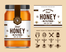 Honey Glass Jar Mockup With Label And Icons