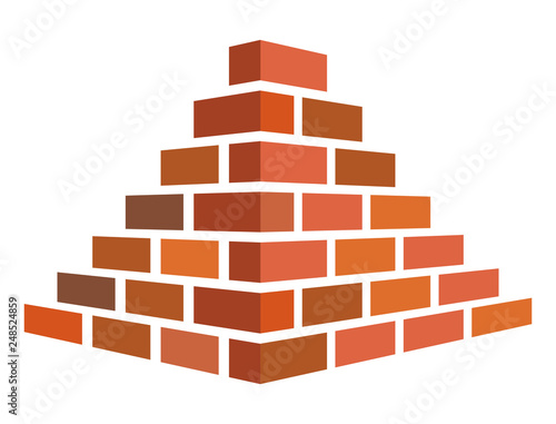 Photo Illustration of bricks for construction on a white background