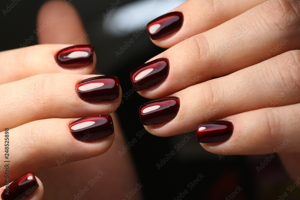 Fototapety, obrazy: Youth manicure design, color coffee with gold