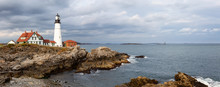 Beautiful Panoramic View Of Portland Head Lighthouse On The Atlantic Ocean Coast. Taken In Fort Williams Park, Portland, Maine, United States.