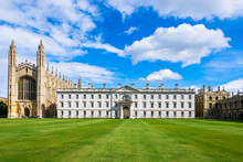 King's College Chapel With Beautiful Blue Sky, University Of Cambridge, England