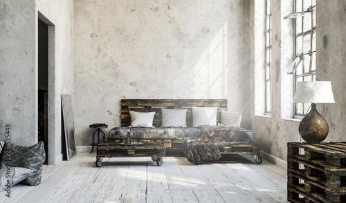 Minimalistisches Wohnzimmer Loft Mit Palettenmobel Buy