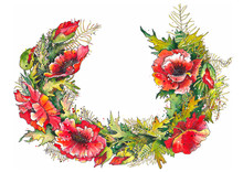 Beautiful Wreath With Red Poppy Flowers And Leaves. Watercolor Illustration On White Background.