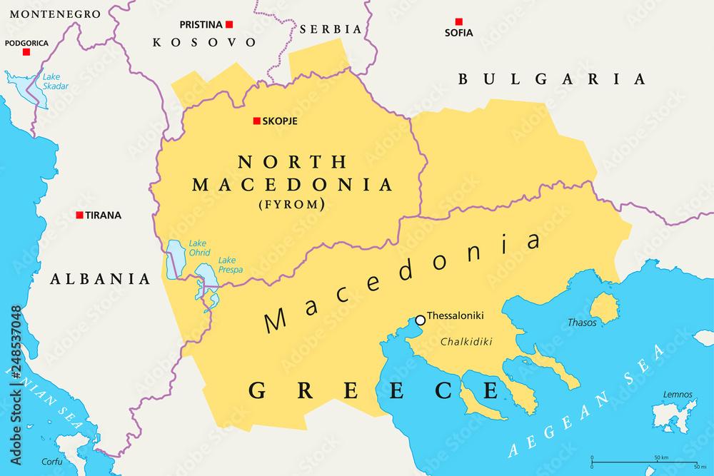 Fototapety, obrazy: Macedonia region, political map. Region of the Balkan Peninsula in Southeast Europe. Part of Greece, North Macedonia, Bulgaria, Albania, Kosovo and Serbia. English labeling. Illustration. Vector.