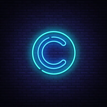 Copyright Neon Sign Vector. Copyrights Design Template Neon Sign, Light Banner, Neon Signboard, Nightly Bright Advertising, Light Inscription. Vector Illustration