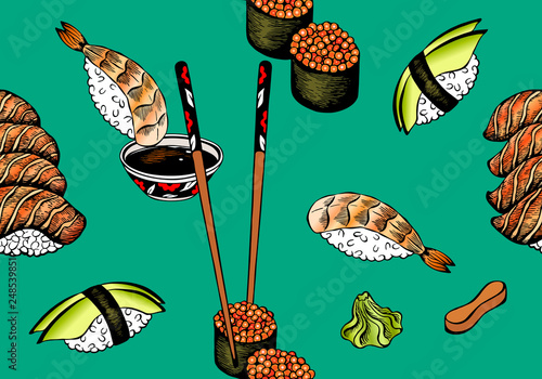 Illustration Pattern Of Sketch Hand Drawn Sushi For