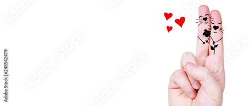 Fotografie, Tablou  Zwei verliebte Finger
