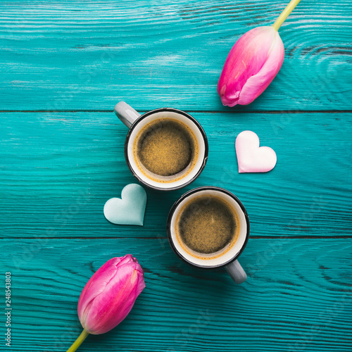 Fototapeta Two coffee cups, hearts and flowers. Valentine day