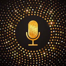 Golden Microphone Icon On Abstract Gold Halftone Circle Background. Karaoke Party Shiny Luxury Banner.