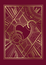 Gold And Burgundy Card With He...