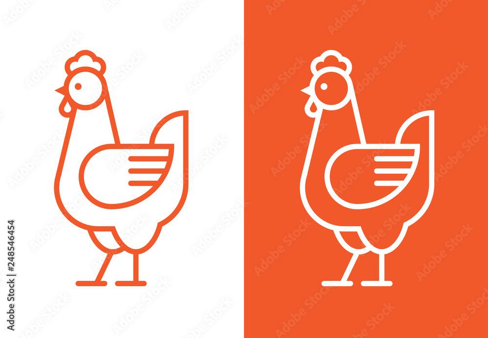 Fotografia Outline hen icon. Chicken linear logo.