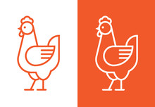 Outline Hen Icon. Chicken Linear Logo.