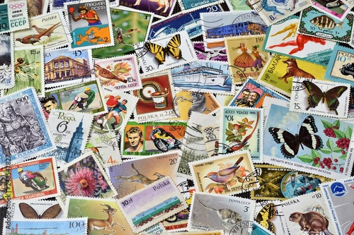 Kolorowe znaczki Canvas Print