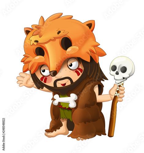 Fototapety, obrazy: cartoon scene with happy caveman barbarian warrior on white background illustration for children