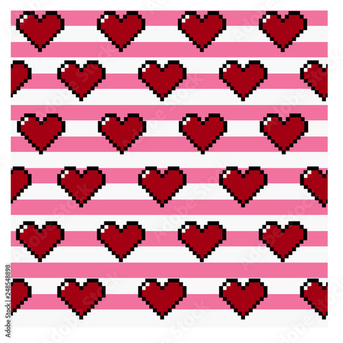 Photo Pixel Valentine Hearts on Stripe Background Seamless Repeating Vector Pattern
