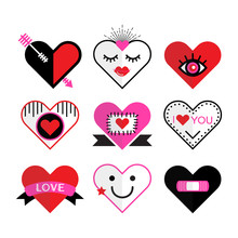 Cute Pink And Red Heart And Love Icon Emblems And Design Elements Set On White Background