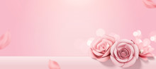 Romantic Baby Pink Paper Roses