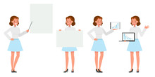 Business Woman Showing Different Gestures Character Vector Design. No10