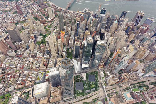 Photo  Wide-angle aerial view over World Trade Center and Lower Manhattan, looking east