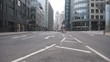 Time lapse. A low angle view of a road in London business area.