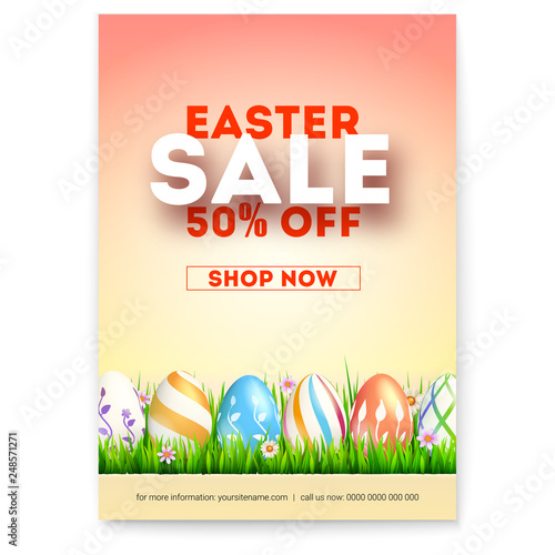 Easter Sale Ad Poster With Special Holiday Offer Creative Design Of Promotional Text Set Of Painted Easter Eggs On Spring Green Grass Vector Illustration For Festive Discount Actions Buy This Stock