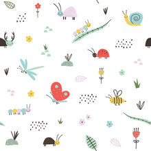Seamless Childish Pattern With Cute Insects