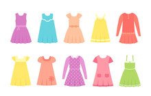 Baby Dresses. Vector. Girl Clothes. Children Clothing Set. Kid Models. Collection Summer Garment Isolated On White In Flat Design. Cartoon Illustration. Female Dress. Cloths For Child. Apparel Icons.
