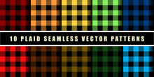 Set 10 Check Plaid Seamless Pattern In Blue, Crimson, Red, Green And Orange Colors. Template For Clothing Fabrics. Trendy Colors Palettes Of 2019 Season. Vector Illustration.
