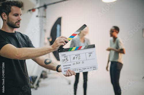 Canvas Print Behind the scenes with a clapper board
