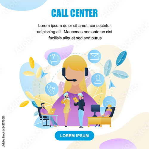 Canvas Prints Textures Illustration Group People Call Center Worker Store