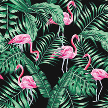 Green Tropical Leaves And Pink...