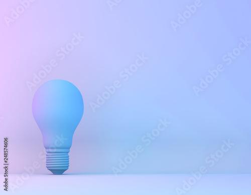 Fototapeta Blue bulb in vibrant bold gradient purple and blue holographic colors background. Minimal concept art surrealism. obraz na płótnie