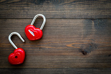 Love Concept. Valentine's Day Symbol. Locks In Shape Of Heart O Dark Wooden Background Top View Copy Space