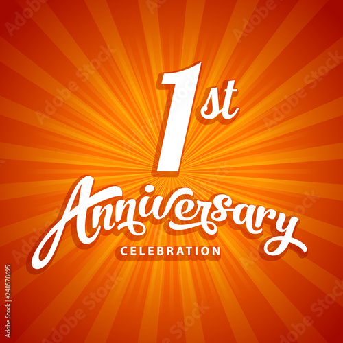 Fotografia 1st anniversary vector template for birthday, wedding or business greeting or in