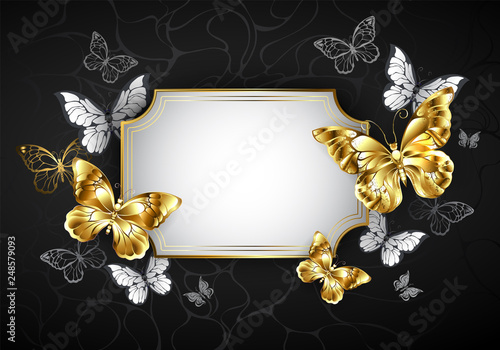 Tablou Canvas Straight banner with golden butterflies