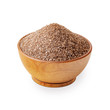 Leinwandbild Motiv Brown smoked salt in a wooden bowl isolated on white