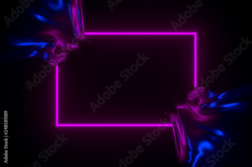 Fotografie, Obraz  Shiny flowing fabric in neon lighting rectangle frame 3D illustration