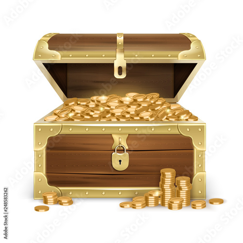 Realistic Wooden Chest With Coins Fototapeta