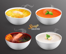Four Bowls With Hot Soup On Transparent