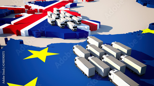 Fotografía  Europe map with waiting trucks - Brexit / border control/ customs check / 3d-ill
