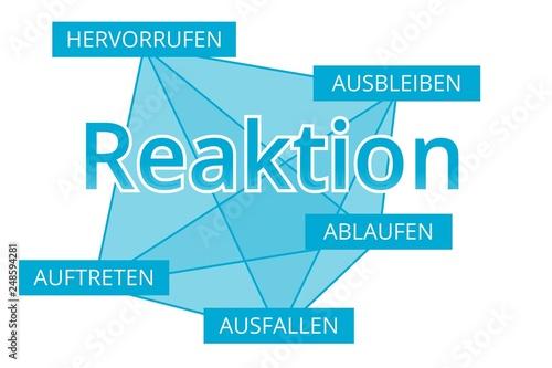Fotografie, Obraz  Reaktion - Begriffe verbinden, Farbe blau