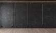 Modern classic black interior with stucco, door, wooden floor, ceiling backlit, molding. Empty room, blank wall. 3d render illustration mock up.