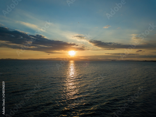 Beautiful aerial view of the sunset in the ocean