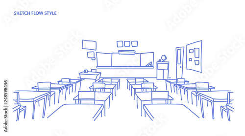 Fotografie, Obraz  empty school class room interior board desk sketch flow style horizontal