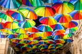 Decorative umbrellas in the streets of Bucharest, Romania - 248600240