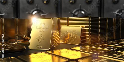 Fotografie, Obraz  Safe Fine Gold Bars 10 Oz