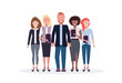 businesspeople standing together mix race business people team happy colleagues successful teamwork concept male female office workers full length isolated flat horizontal