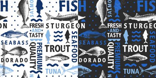 Fotografie, Obraz  Typographic vector fish seamless pattern on light and dark background