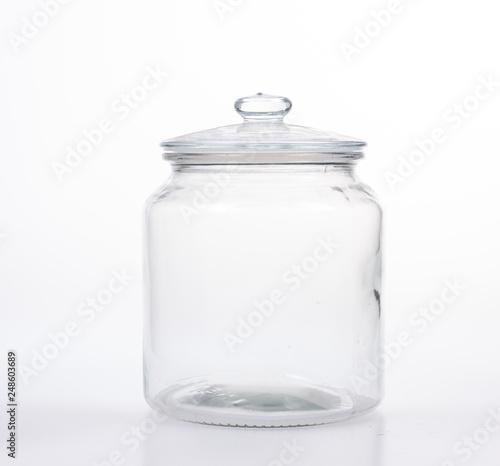 Fényképezés  Glass jar with lid on white background