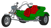 The Hand Drawing Of A Green Heavy Motor Tricycle